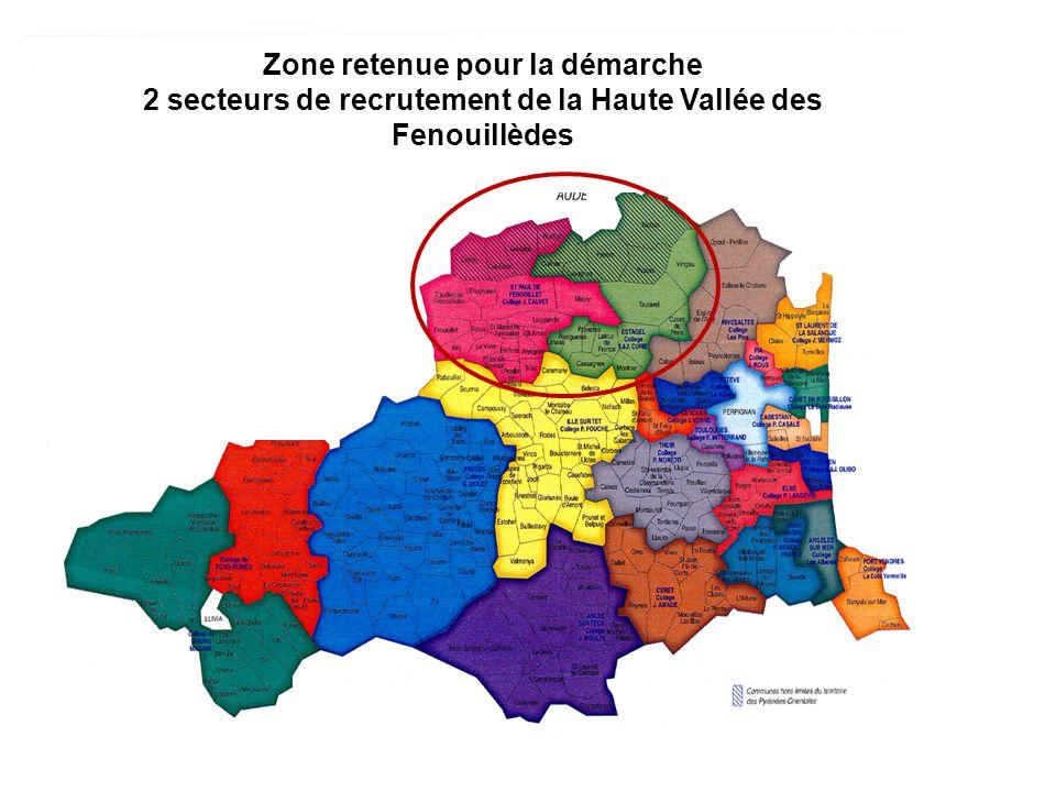 Zone retenue pour la démarche 2 secteurs de recrutement de la Haute Vallée des Fenouillèdes