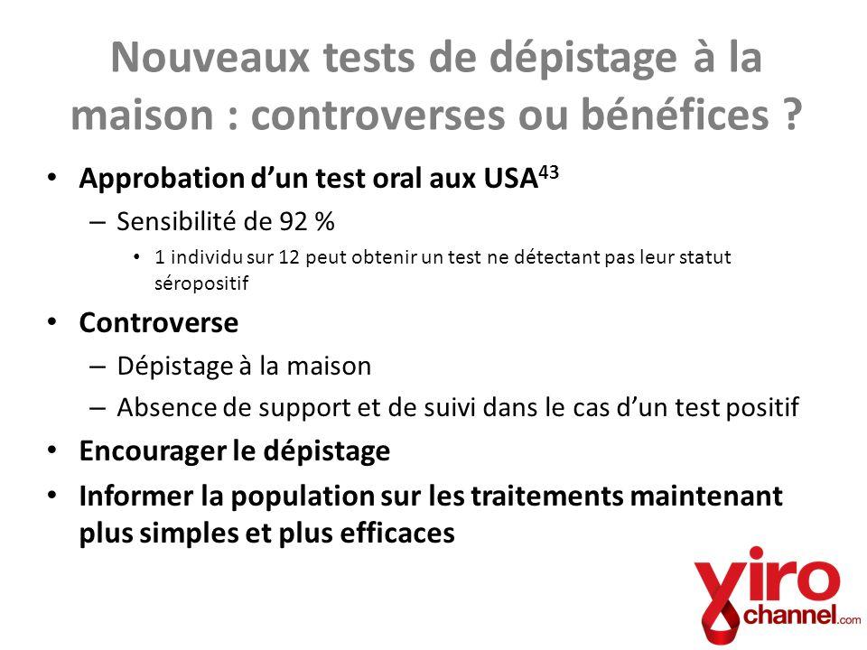 Approbation dun test oral aux USA 43 – Sensibilité de 92 % 1 individu sur 12 peut obtenir un test ne détectant pas leur statut séropositif Controverse