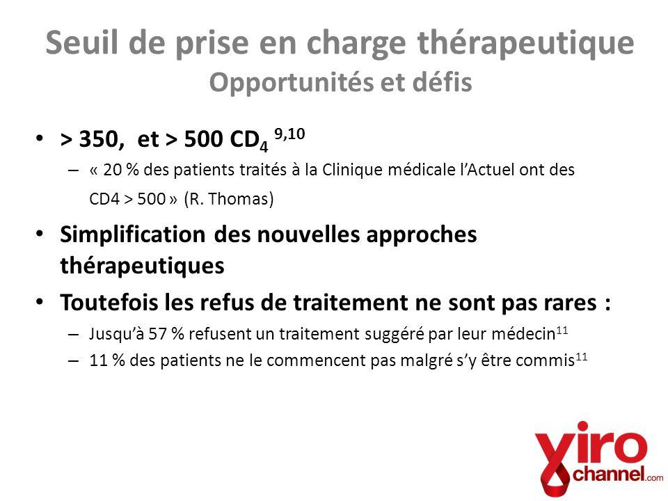 > 350, et > 500 CD 4 9,10 – « 20 % des patients traités à la Clinique médicale lActuel ont des CD4 > 500 » (R. Thomas) Simplification des nouvelles ap