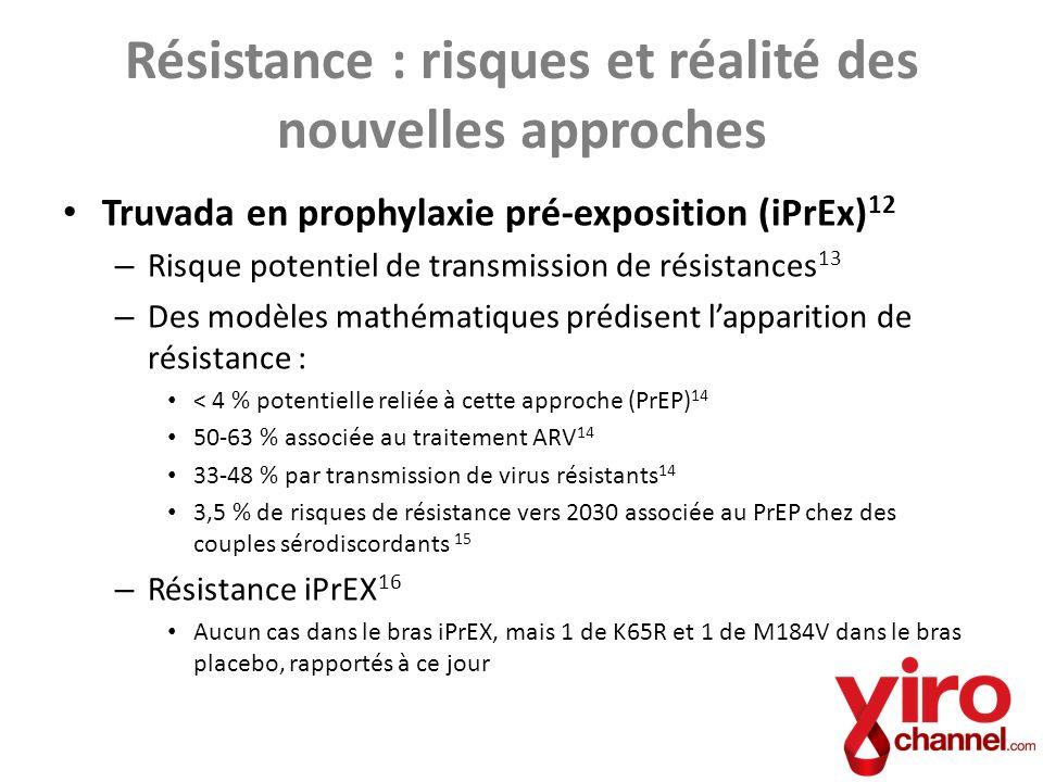 Truvada en prophylaxie pré-exposition (iPrEx) 12 – Risque potentiel de transmission de résistances 13 – Des modèles mathématiques prédisent lapparitio