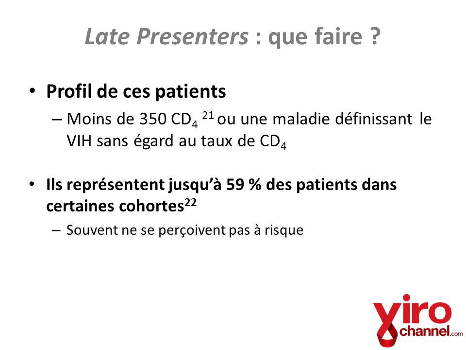 Profil de ces patients – Moins de 350 CD 4 21 ou une maladie définissant le VIH sans égard au taux de CD 4 Ils représentent jusquà 59 % des patients d