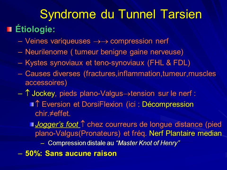 Syndrome du Tunnel Tarsien Étiologie: –Veines variqueuses compression nerf –Neurilenome ( tumeur benigne gaine nerveuse) –Kystes synoviaux et teno-syn