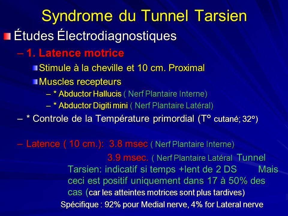 Syndrome du Tunnel Tarsien Études Électrodiagnostiques –1. Latence motrice Stimule à la cheville et 10 cm. Proximal Muscles recepteurs –* Abductor Hal