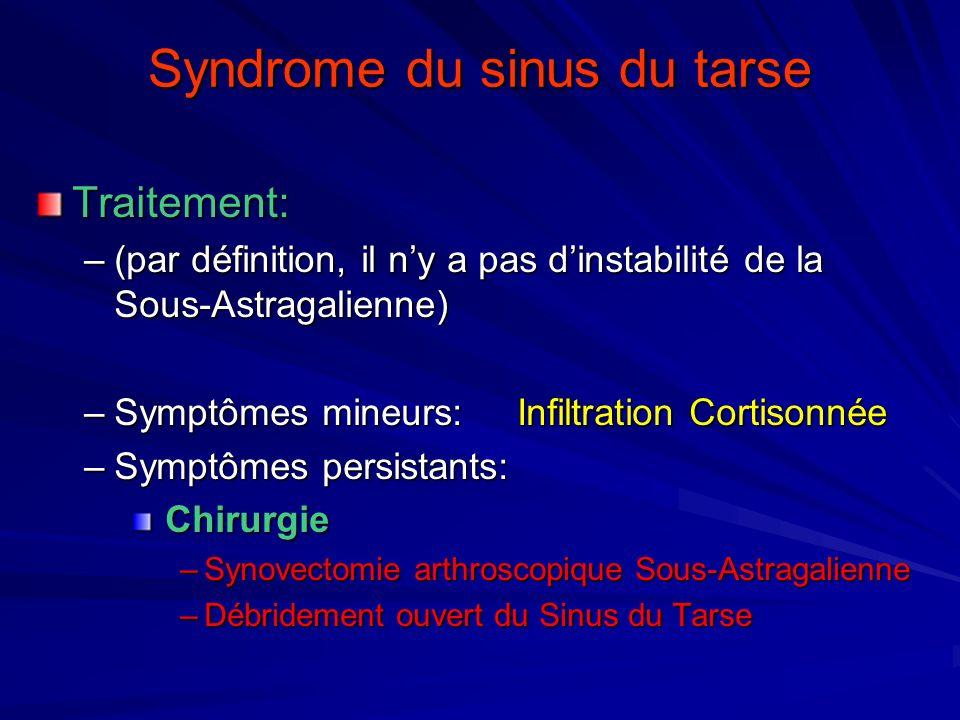 Syndrome du sinus du tarse Traitement: –(par définition, il ny a pas dinstabilité de la Sous-Astragalienne) –Symptômes mineurs: Infiltration Cortisonn