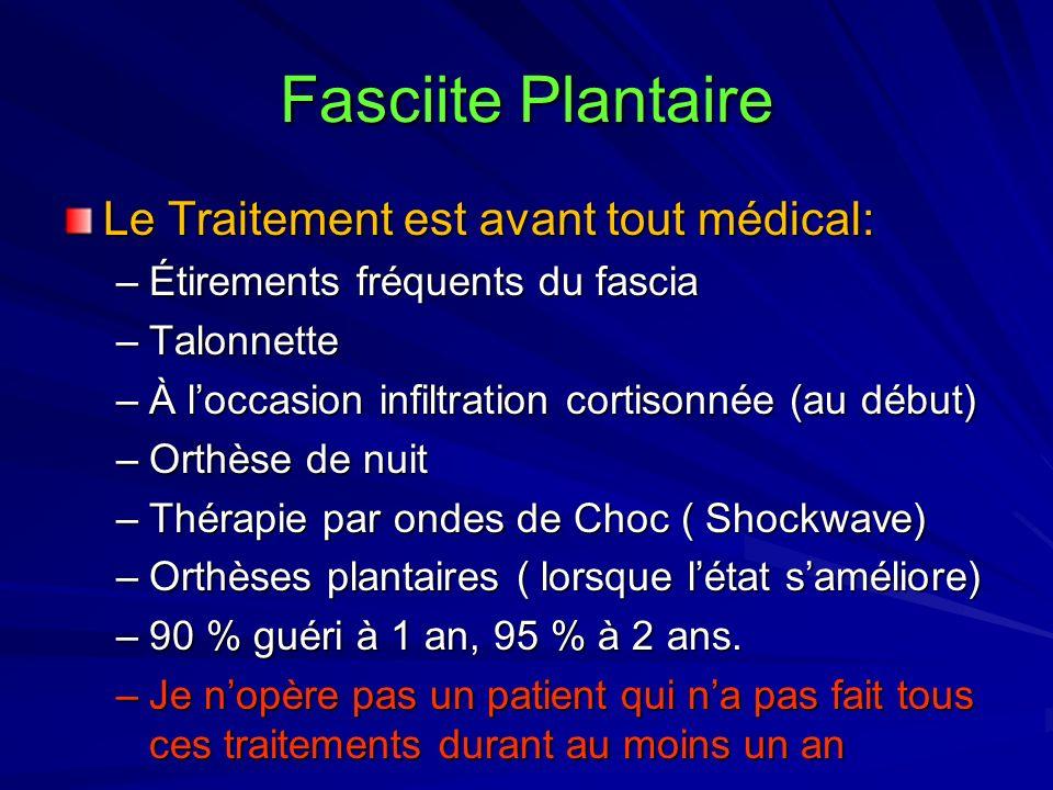 Fasciite Plantaire Le Traitement est avant tout médical: –Étirements fréquents du fascia –Talonnette –À loccasion infiltration cortisonnée (au début)