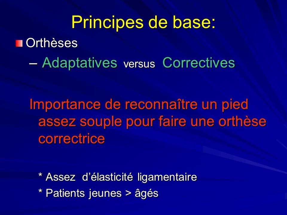 Principes de base: Orthèses – Adaptatives versus Correctives Importance de reconnaître un pied assez souple pour faire une orthèse correctrice * Assez