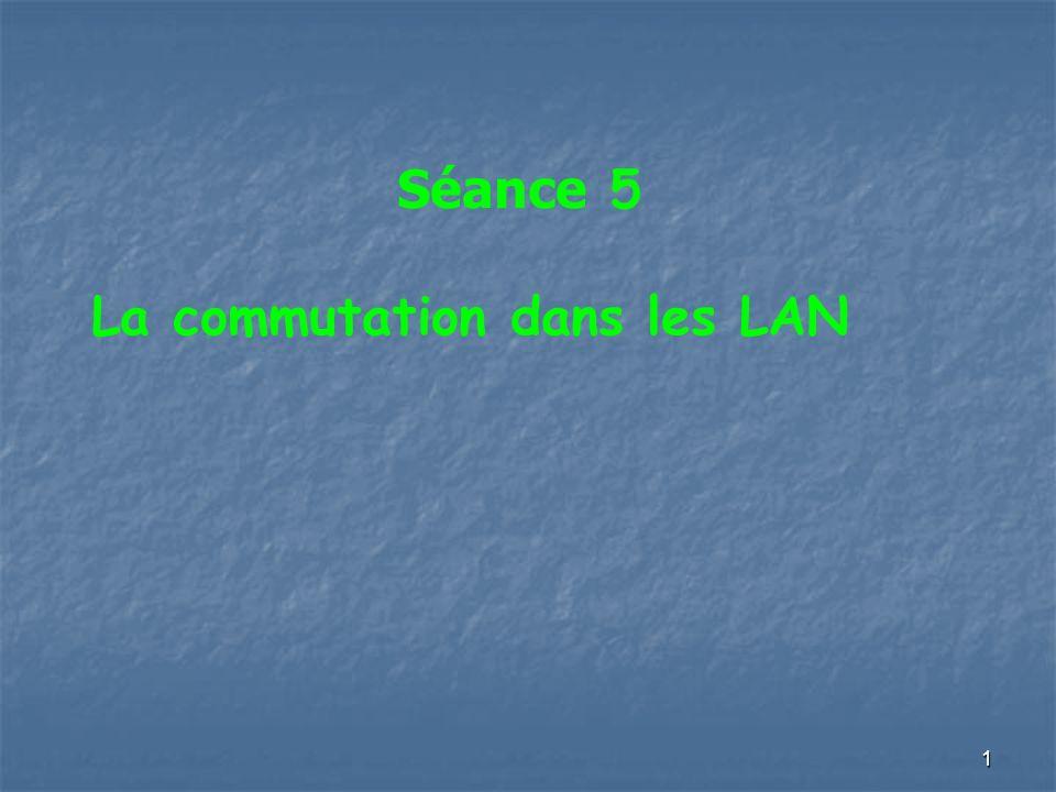 22 Techniques de commutation (2) Variantes méthode fragment-free : équivalent au « cut- through » mais supprime les trames trop courtes (collisions) méthode au choix de l administrateur du commutateur méthode adaptative : démarrage en mode « cut-through » passage en store & forward au delà d un certain seuil de taux d erreurs calculé par vérification des CRC retour en mode cut-through en dessous du seuil
