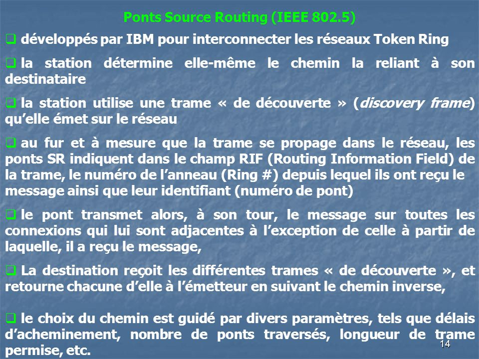 14 Ponts Source Routing (IEEE 802.5) développés par IBM pour interconnecter les réseaux Token Ring la station détermine elle-même le chemin la reliant à son destinataire la station utilise une trame « de découverte » (discovery frame) quelle émet sur le réseau au fur et à mesure que la trame se propage dans le réseau, les ponts SR indiquent dans le champ RIF (Routing Information Field) de la trame, le numéro de lanneau (Ring #) depuis lequel ils ont reçu le message ainsi que leur identifiant (numéro de pont) le pont transmet alors, à son tour, le message sur toutes les connexions qui lui sont adjacentes à lexception de celle à partir de laquelle, il a reçu le message, La destination reçoit les différentes trames « de découverte », et retourne chacune delle à lémetteur en suivant le chemin inverse, le choix du chemin est guidé par divers paramètres, tels que délais dacheminement, nombre de ponts traversés, longueur de trame permise, etc.