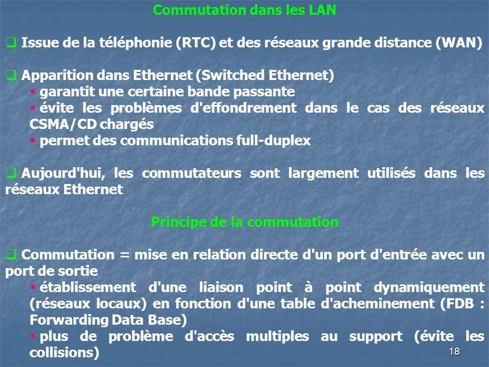 18 Commutation dans les LAN Issue de la téléphonie (RTC) et des réseaux grande distance (WAN) Apparition dans Ethernet (Switched Ethernet) garantit une certaine bande passante évite les problèmes d effondrement dans le cas des réseaux CSMA/CD chargés permet des communications full-duplex Aujourd hui, les commutateurs sont largement utilisés dans les réseaux Ethernet Principe de la commutation Commutation = mise en relation directe d un port d entrée avec un port de sortie établissement d une liaison point à point dynamiquement (réseaux locaux) en fonction d une table d acheminement (FDB : Forwarding Data Base) plus de problème d accès multiples au support (évite les collisions)