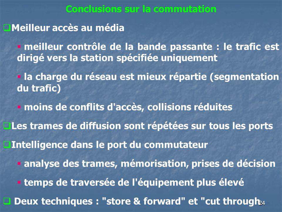 24 Conclusions sur la commutation Meilleur accès au média meilleur contrôle de la bande passante : le trafic est dirigé vers la station spécifiée uniq