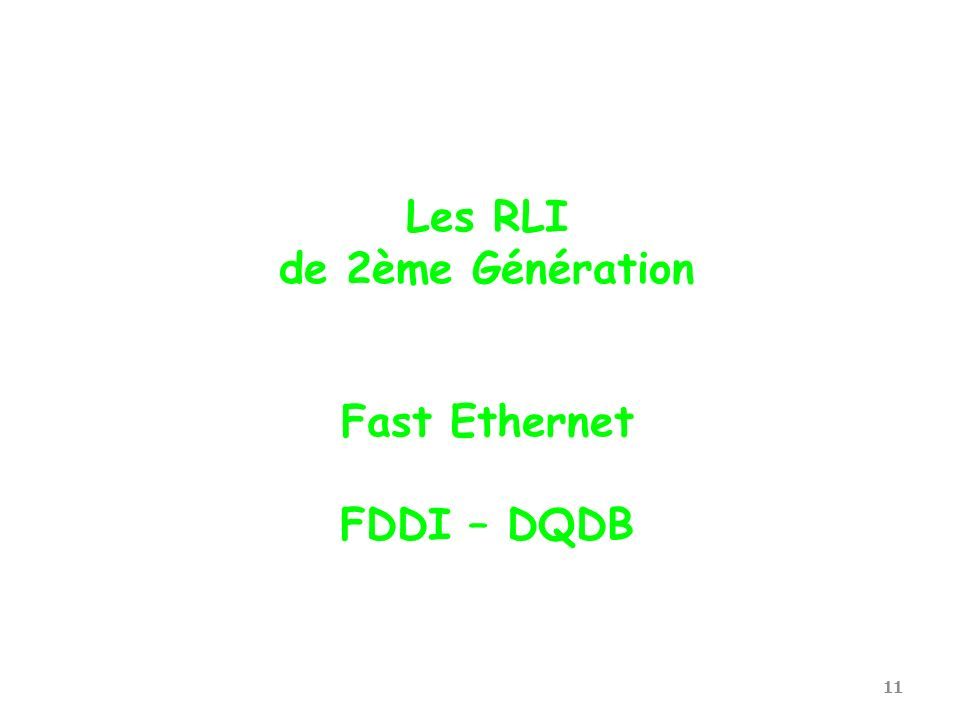 11 Les RLI de 2ème Génération Fast Ethernet FDDI – DQDB