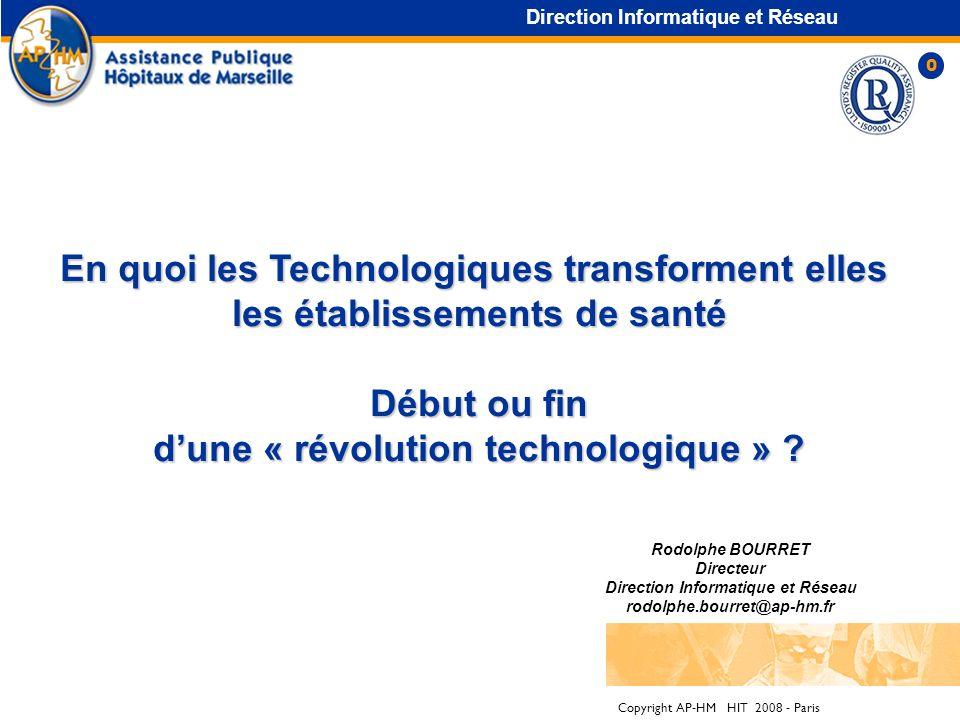 Copyright AP-HM HIT 2008 - Paris En quoi les Technologiques transforment elles les établissements de santé Début ou fin Début ou fin dune « révolution technologique » .