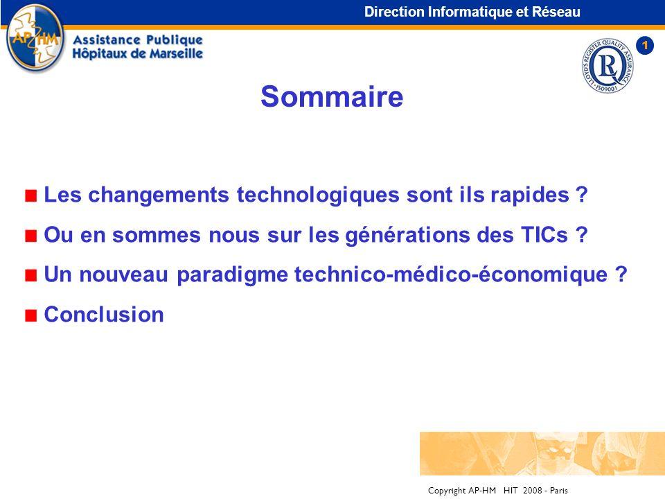 Copyright AP-HM HIT 2008 - Paris Sommaire Les changements technologiques sont ils rapides .