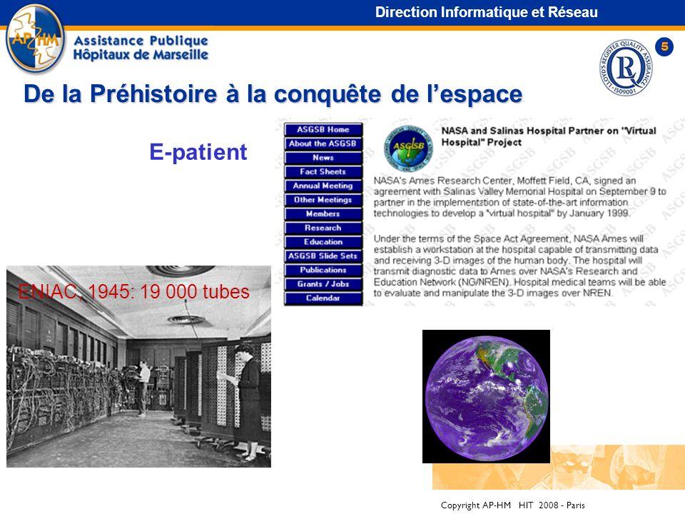 Copyright AP-HM HIT 2008 - Paris 5 Direction Informatique et Réseau De la Préhistoire à la conquête de lespace ENIAC, 1945: 19 000 tubes E-patient