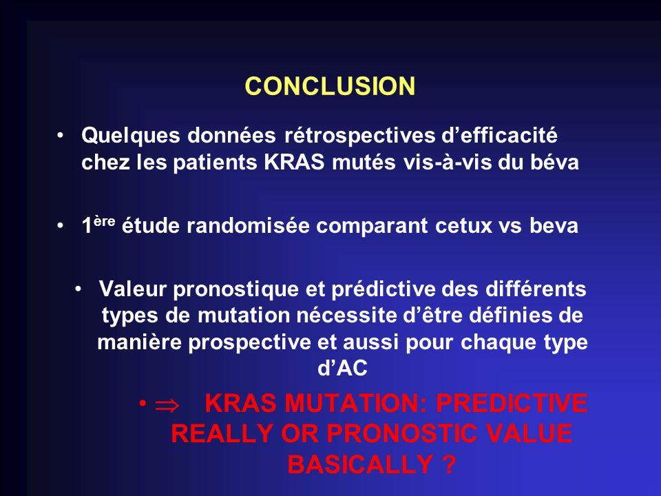 CONCLUSION Quelques données rétrospectives defficacité chez les patients KRAS mutés vis-à-vis du béva 1 ère étude randomisée comparant cetux vs beva V