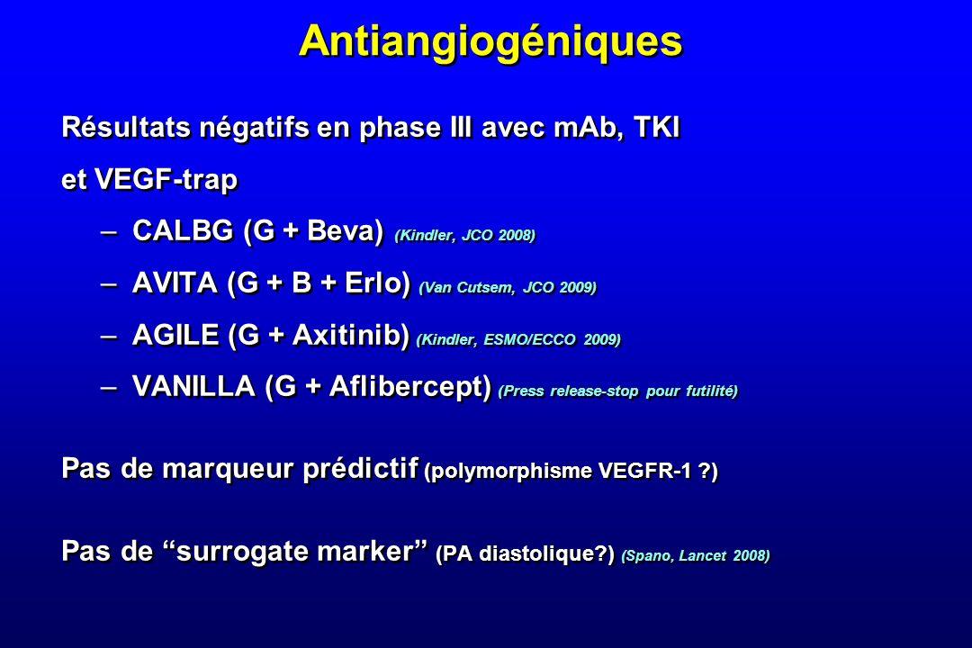 Antiangiogéniques Résultats négatifs en phase III avec mAb, TKI et VEGF-trap –CALBG (G + Beva) (Kindler, JCO 2008) –AVITA (G + B + Erlo) (Van Cutsem,
