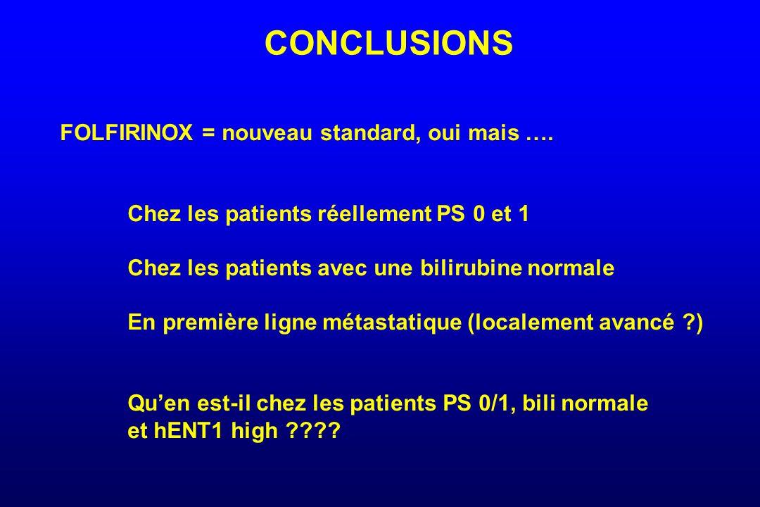 CONCLUSIONS FOLFIRINOX = nouveau standard, oui mais …. Chez les patients réellement PS 0 et 1 Chez les patients avec une bilirubine normale En premièr