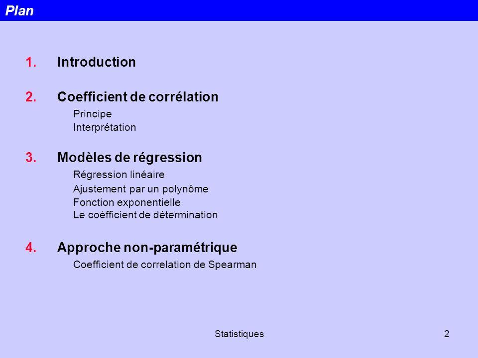 Statistiques2 1.Introduction 2.Coefficient de corrélation Principe Interprétation 3.Modèles de régression Régression linéaire Ajustement par un polynô