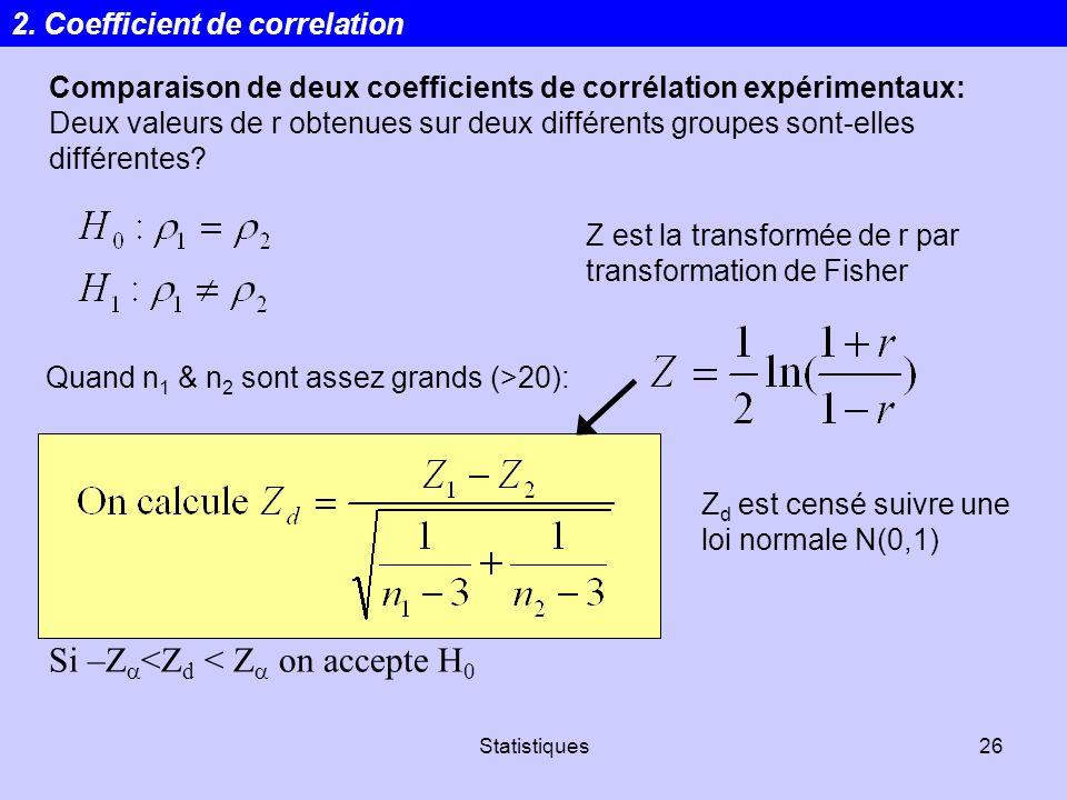 Statistiques26 Comparaison de deux coefficients de corrélation expérimentaux: Deux valeurs de r obtenues sur deux différents groupes sont-elles différ