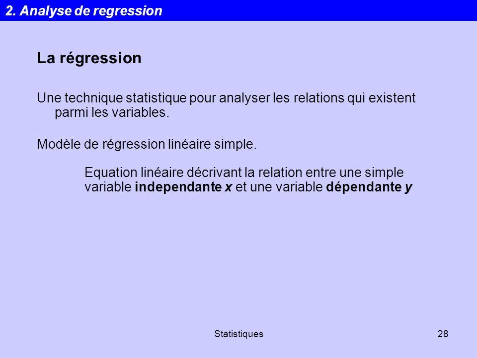 Statistiques28 La régression Une technique statistique pour analyser les relations qui existent parmi les variables. Modèle de régression linéaire sim