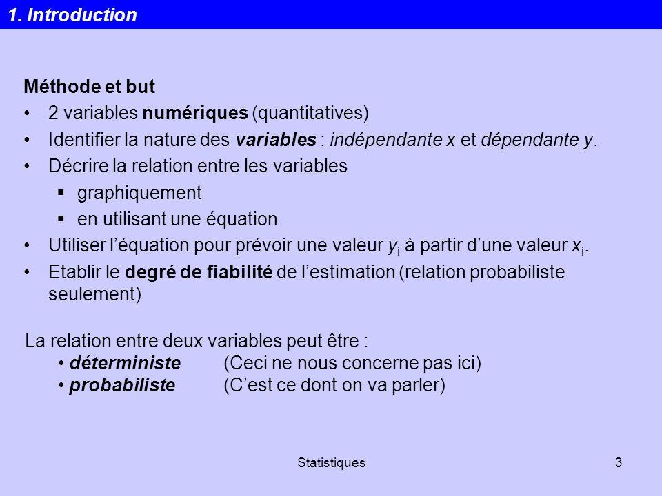 Statistiques3 Méthode et but 2 variables numériques (quantitatives) Identifier la nature des variables : indépendante x et dépendante y. Décrire la re