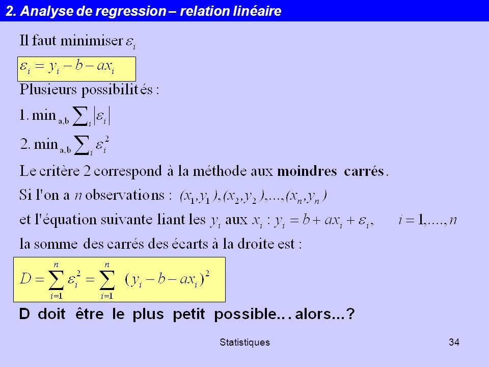 Statistiques34 2. Analyse de regression – relation linéaire