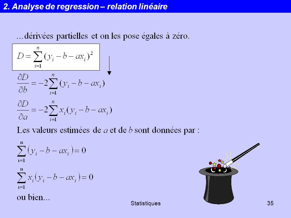 Statistiques35 2. Analyse de regression – relation linéaire