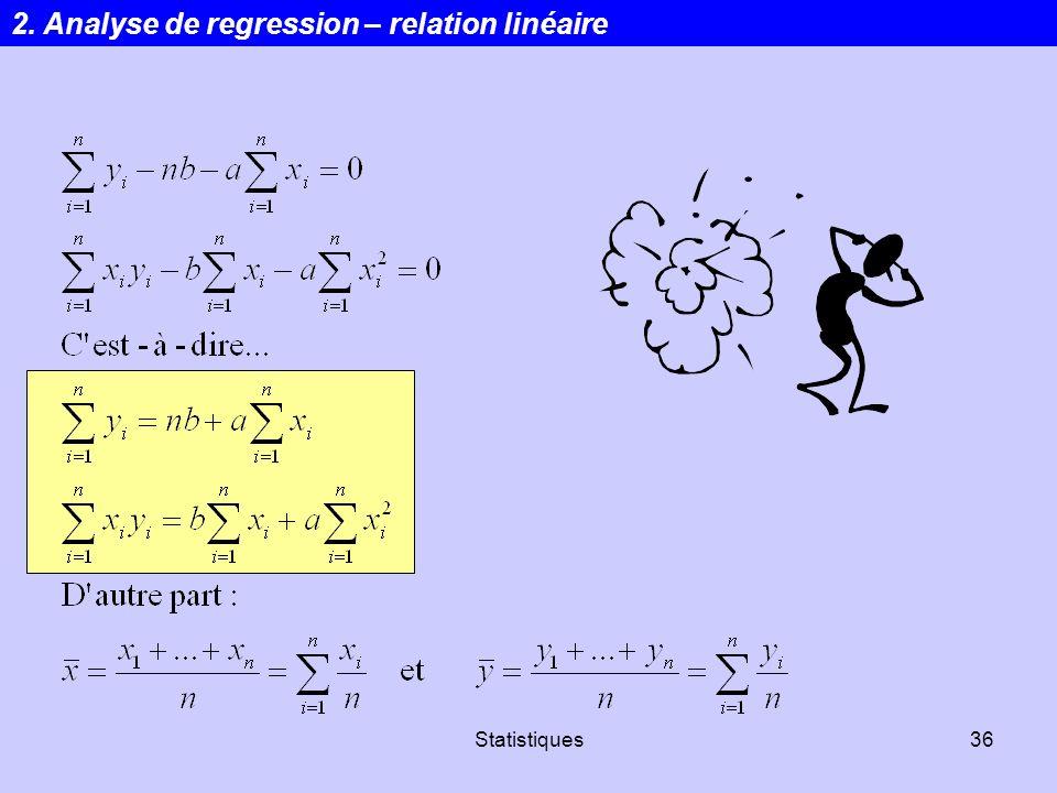 Statistiques36 2. Analyse de regression – relation linéaire