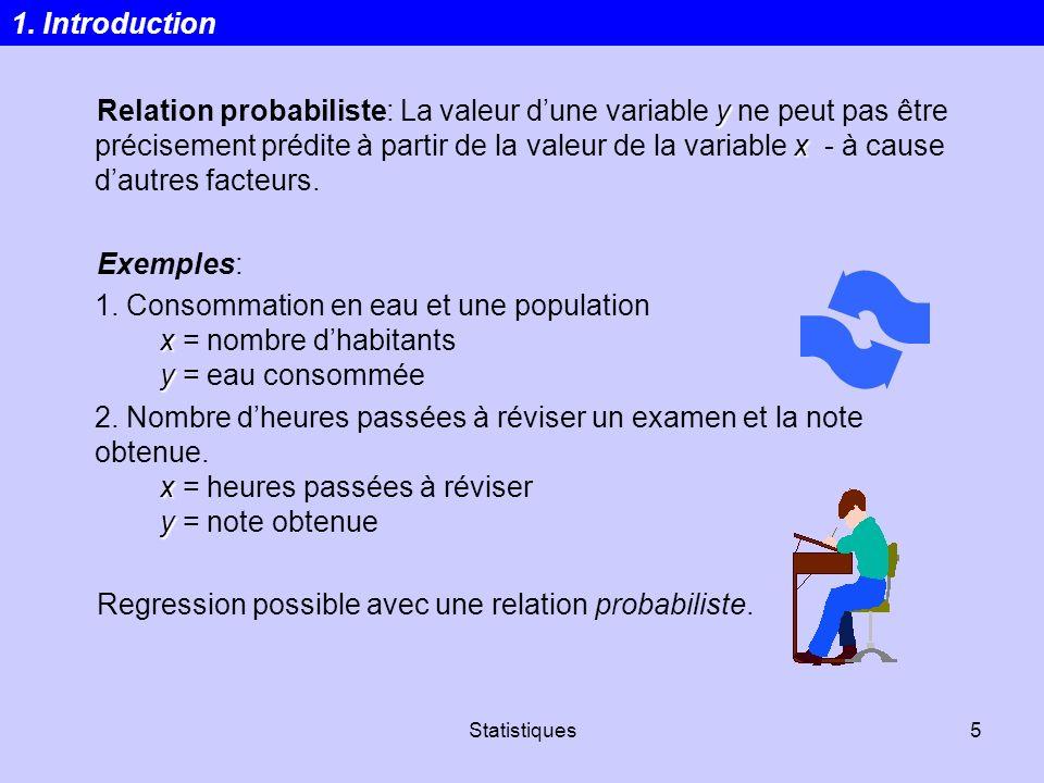Statistiques5 y x Relation probabiliste: La valeur dune variable y ne peut pas être précisement prédite à partir de la valeur de la variable x - à cau