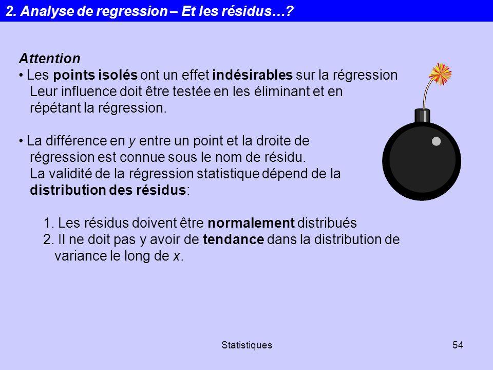 Statistiques54 Attention Les points isolés ont un effet indésirables sur la régression Leur influence doit être testée en les éliminant et en répétant