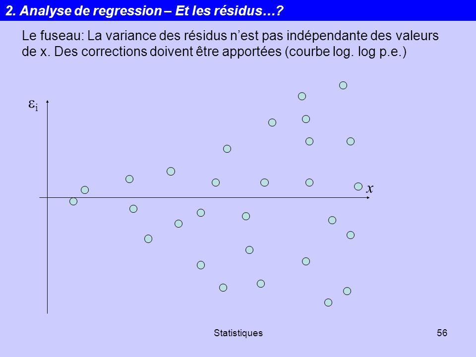 Statistiques56 i x Le fuseau: La variance des résidus nest pas indépendante des valeurs de x. Des corrections doivent être apportées (courbe log. log