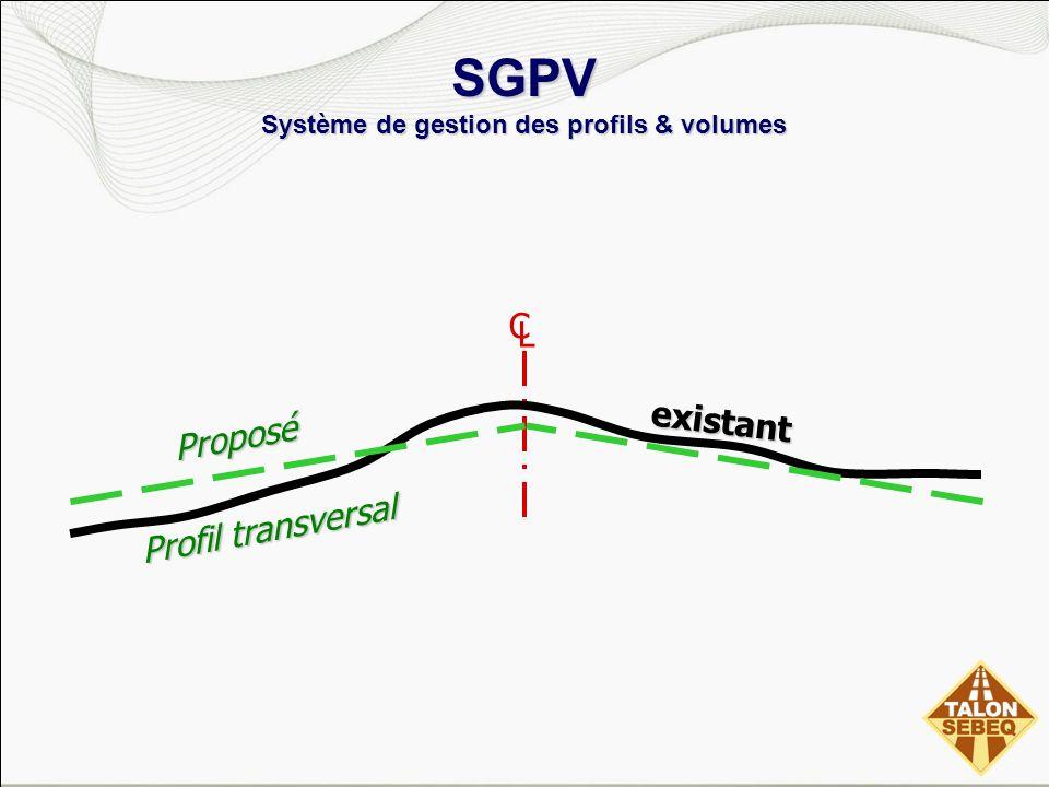 SGPV Système de gestion des profils & volumes C L existant Profil transversal Proposé