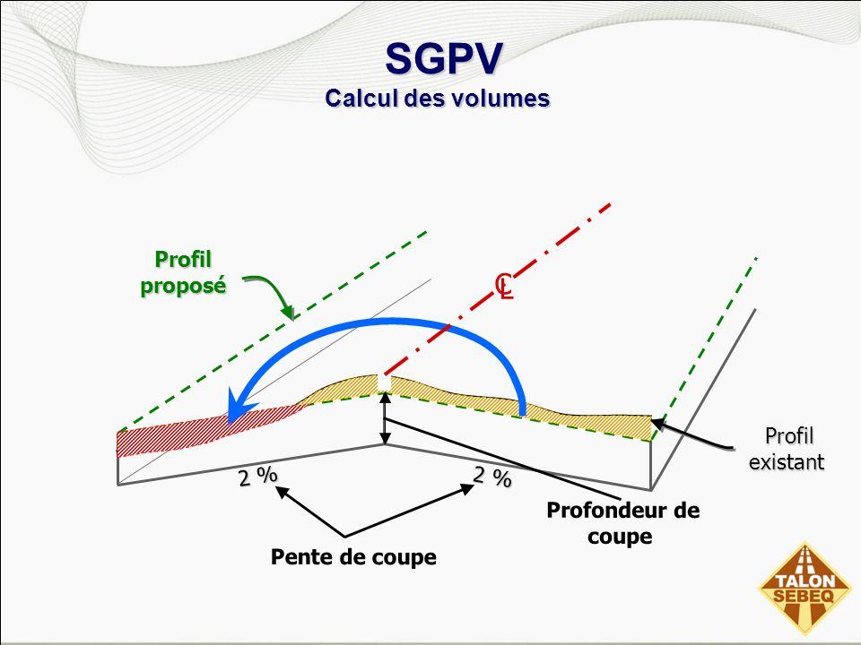 SGPV Calcul des volumes SGPV Calcul des volumes 2 % Pente de coupe Profondeur de coupe Profil existant Profil existant Profil proposé C L
