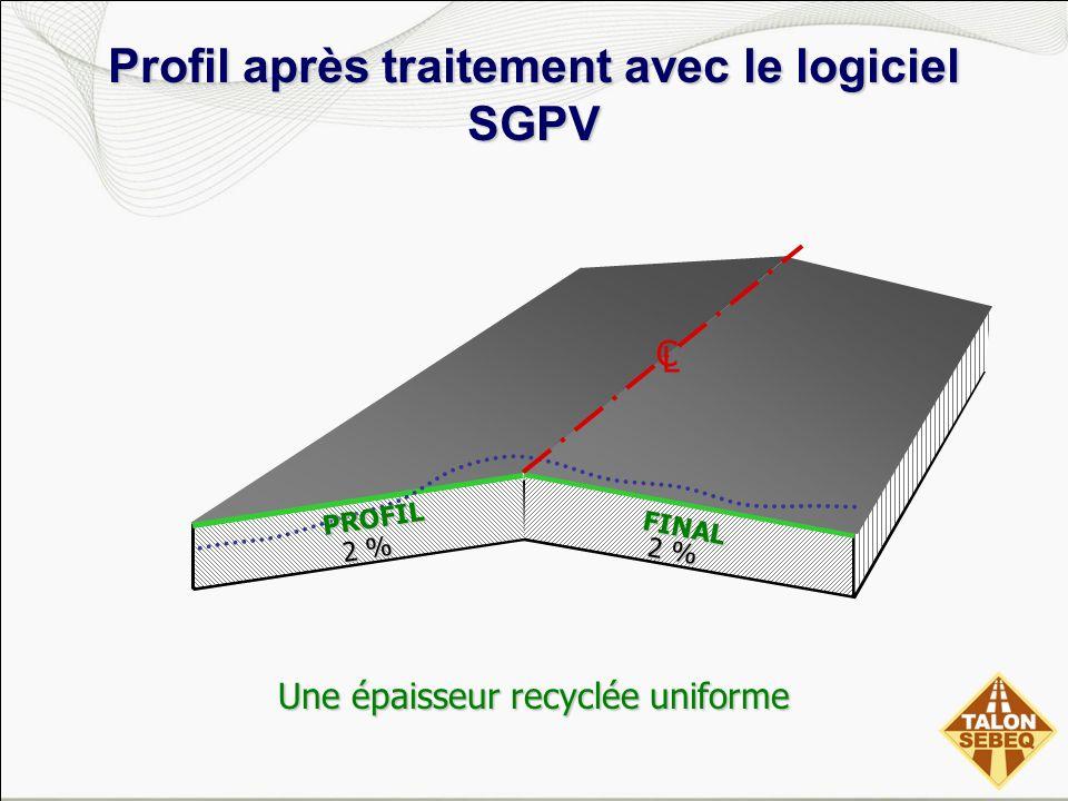 Profil après traitement avec le logiciel SGPV FINAL Une épaisseur recyclée uniforme 2 % PROFIL C L