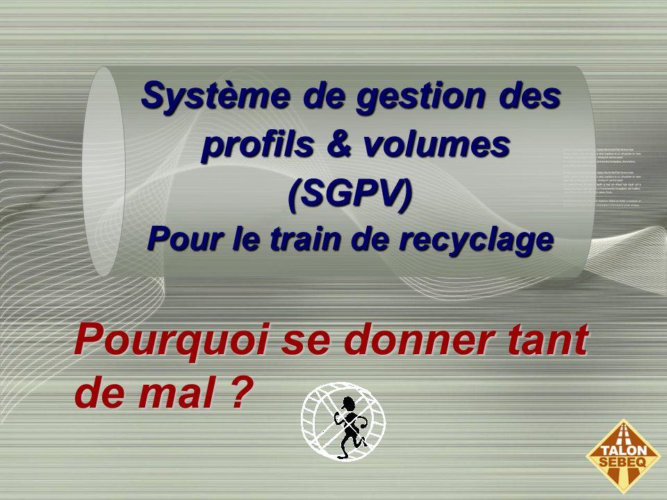 Pourquoi se donner tant de mal ? Système de gestion des profils & volumes profils & volumes(SGPV) Pour le train de recyclage
