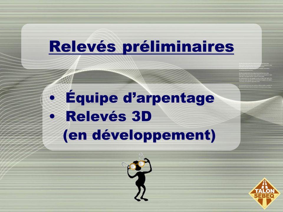 Relevés préliminaires Équipe darpentageÉquipe darpentage Relevés 3DRelevés 3D (en développement) (en développement)