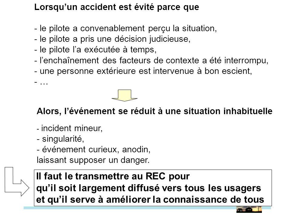 Lorsquun accident est évité parce que - le pilote a convenablement perçu la situation, - le pilote a pris une décision judicieuse, - le pilote la exéc