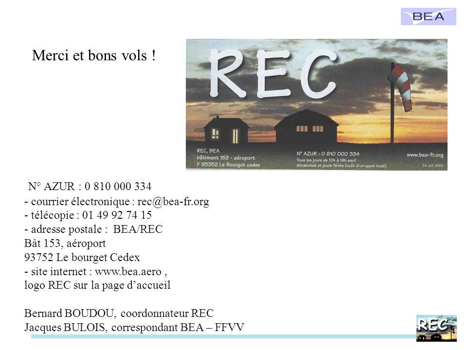 Merci et bons vols ! N° AZUR : 0 810 000 334 - courrier électronique : rec@bea-fr.org - télécopie : 01 49 92 74 15 - adresse postale : BEA/REC Bât 153