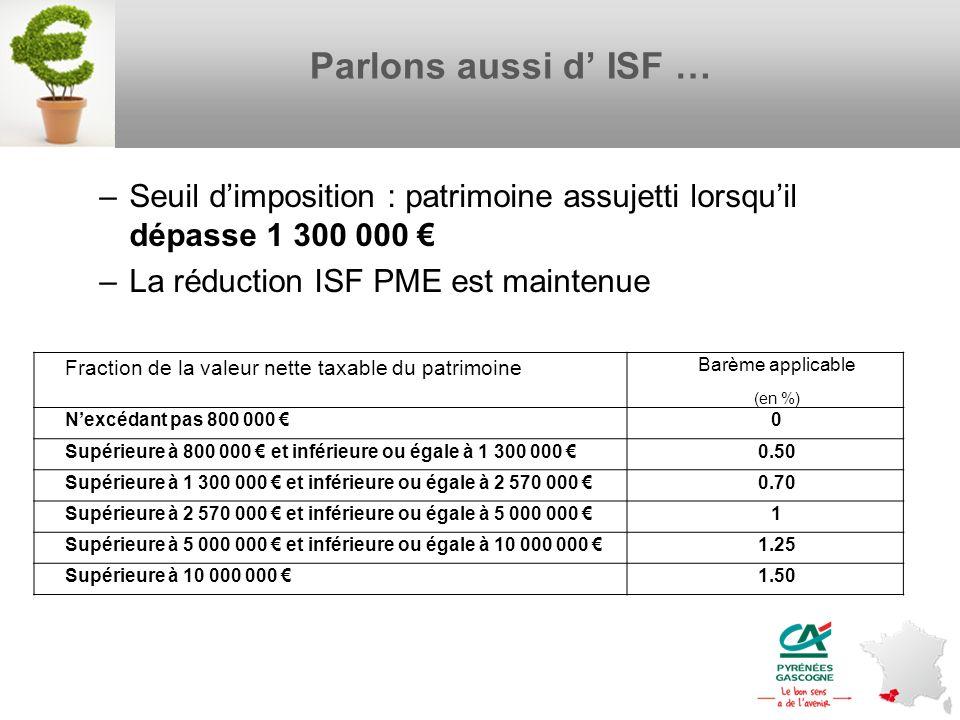 Parlons aussi d ISF … –Seuil dimposition : patrimoine assujetti lorsquil dépasse 1 300 000 –La réduction ISF PME est maintenue Page 18 – oct. nov.2012