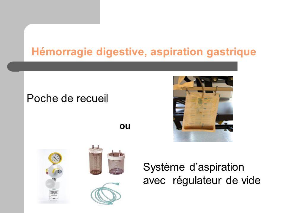 Hémorragie digestive, aspiration gastrique Poche de recueil Système daspiration avec régulateur de vide ou