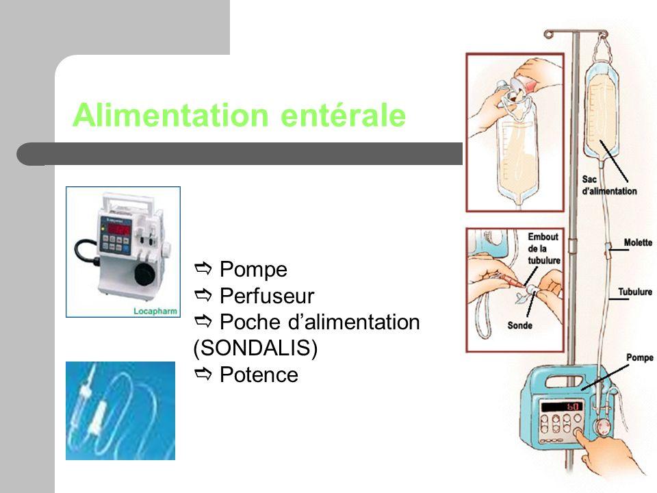 Alimentation entérale Pompe Perfuseur Poche dalimentation (SONDALIS) Potence