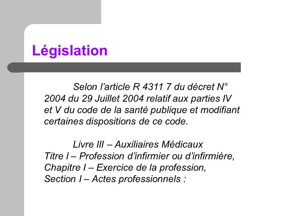 Législation Selon larticle R 4311 7 du décret N° 2004 du 29 Juillet 2004 relatif aux parties IV et V du code de la santé publique et modifiant certain