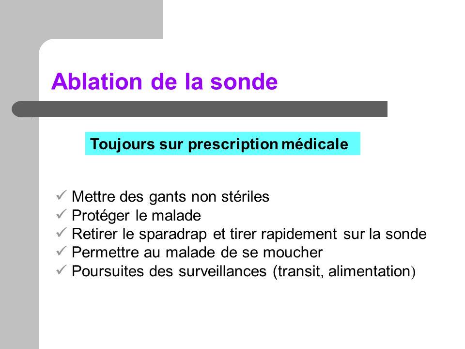 Ablation de la sonde Toujours sur prescription médicale Mettre des gants non stériles Protéger le malade Retirer le sparadrap et tirer rapidement sur