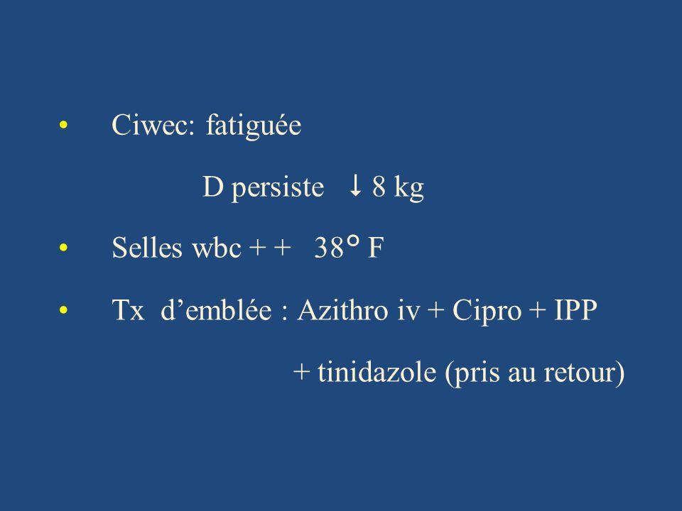 Ciwec: fatiguée D persiste 8 kg Selles wbc + + 38° F Tx demblée : Azithro iv + Cipro + IPP + tinidazole (pris au retour)