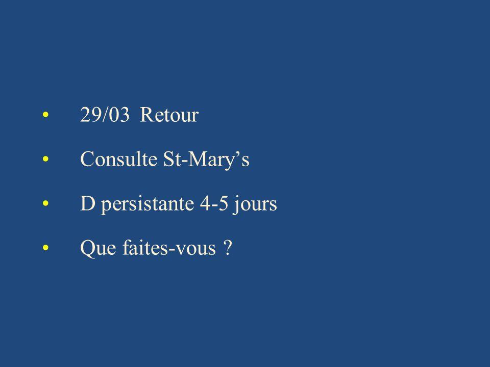 29/03 Retour Consulte St-Marys D persistante 4-5 jours Que faites-vous ?