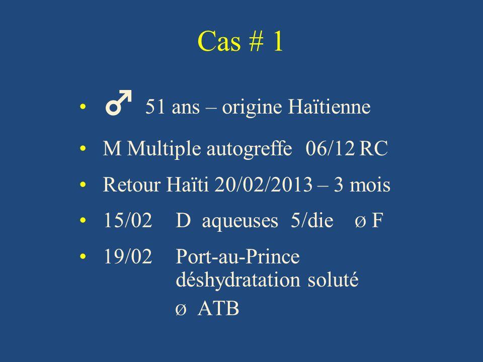 Cas # 1 51 ans – origine Haïtienne M Multiple autogreffe 06/12 RC Retour Haïti 20/02/2013 – 3 mois 15/02 D aqueuses 5/die Ø F 19/02 Port-au-Prince déshydratation soluté Ø ATB