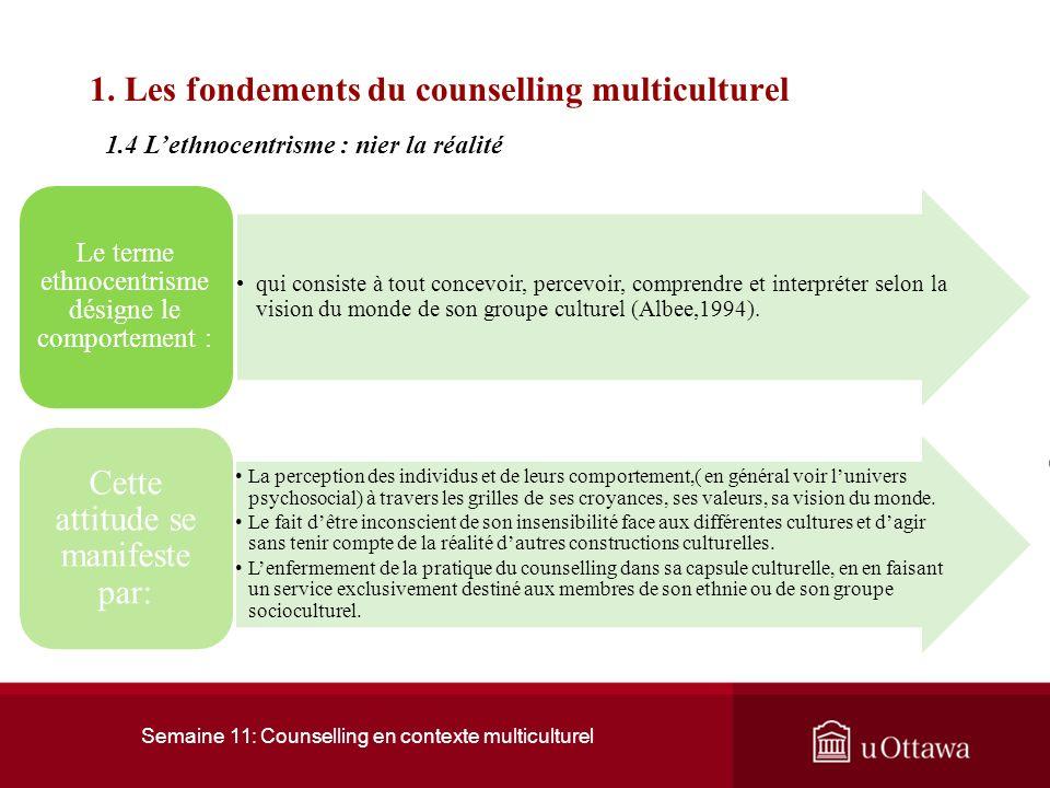 Semaine 11: Counselling en contexte multiculturel 1. Les fondements du counselling multiculturel La diversité de la société canadienne peut être attri
