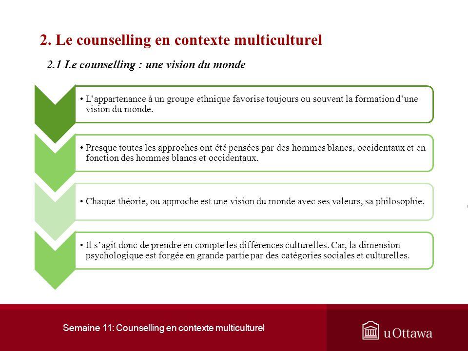 Semaine 11: Counselling en contexte multiculturel 1. Les fondements du counselling multiculturel 1.4 Lethnocentrisme : nier la réalité Selon Wrenn (19