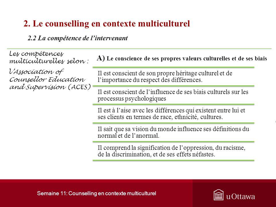Semaine 11: Counselling en contexte multiculturel 2. Le counselling en contexte multiculturel Lappartenance à un groupe ethnique favorise toujours ou