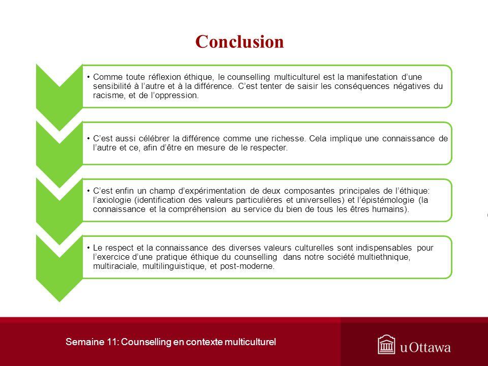 Semaine 11: Counselling en contexte multiculturel 2. Le counselling en contexte multiculturel En fait, le counselling multiculturel est une invitation